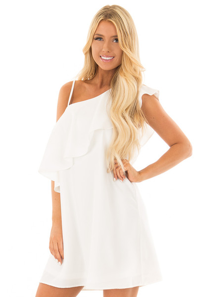 Off White One Shoulder Dress with Ruffle Detail front close up