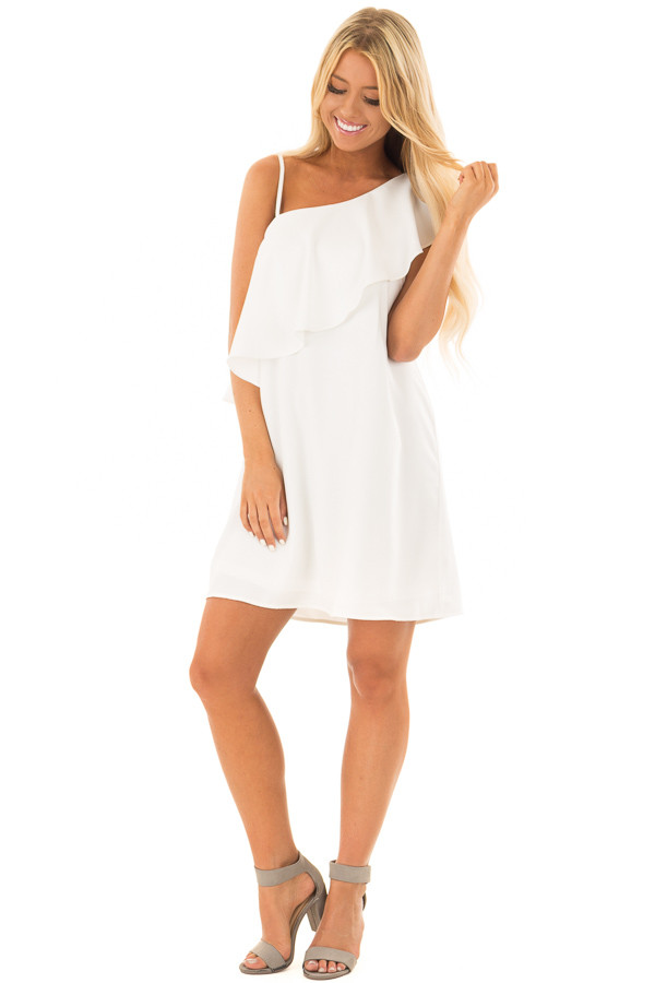 Off White One Shoulder Dress with Ruffle Detail front full body