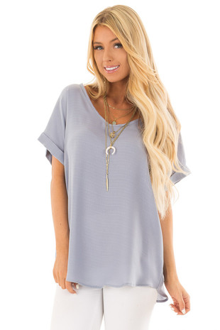 Blue Grey Cuffed Short Sleeve V Neck Top front close up