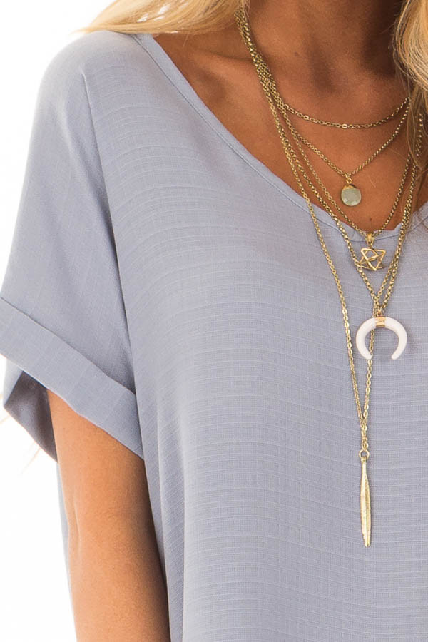 Blue Grey Cuffed Short Sleeve V Neck Top detail