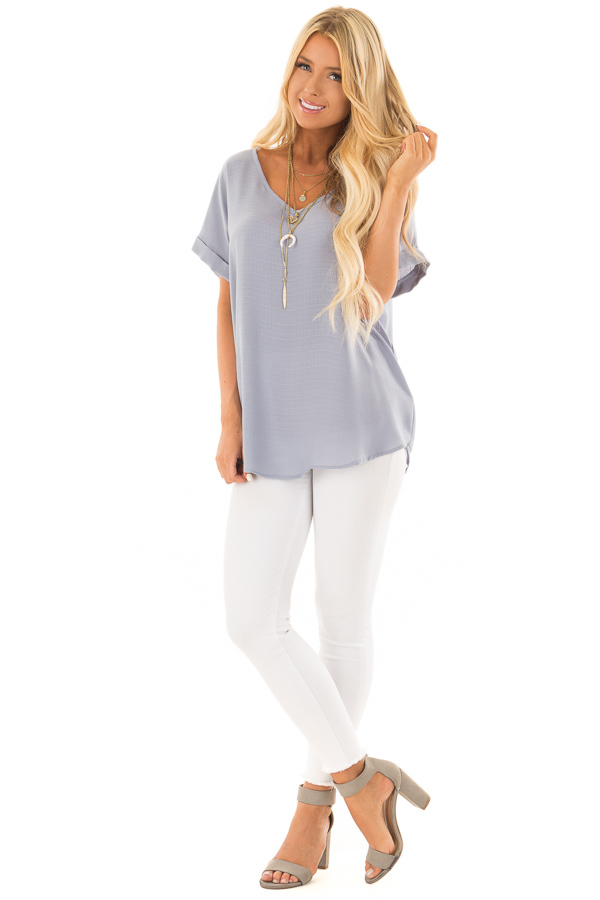 Blue Grey Cuffed Short Sleeve V Neck Top front full body