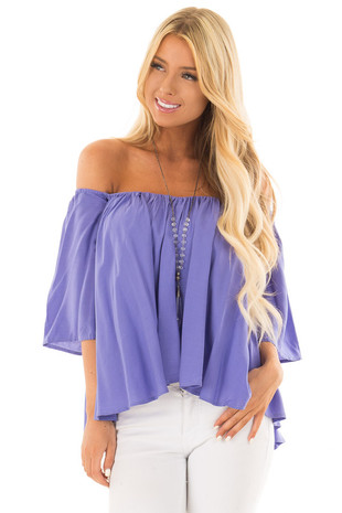 Periwinkle Off the Shoulder Top front close up