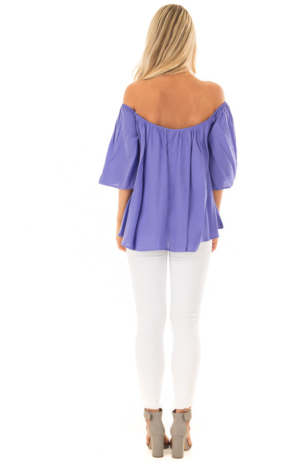 Periwinkle Off the Shoulder Top back full body