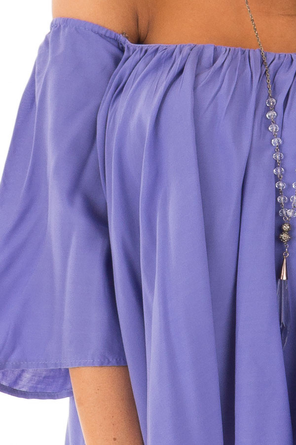 Periwinkle Off the Shoulder Top detail