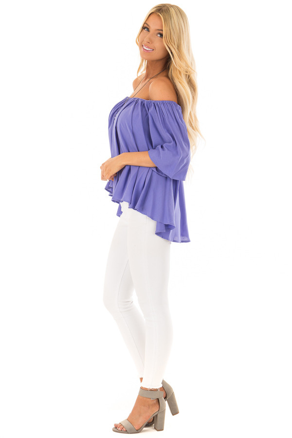 Periwinkle Off the Shoulder Top side full body