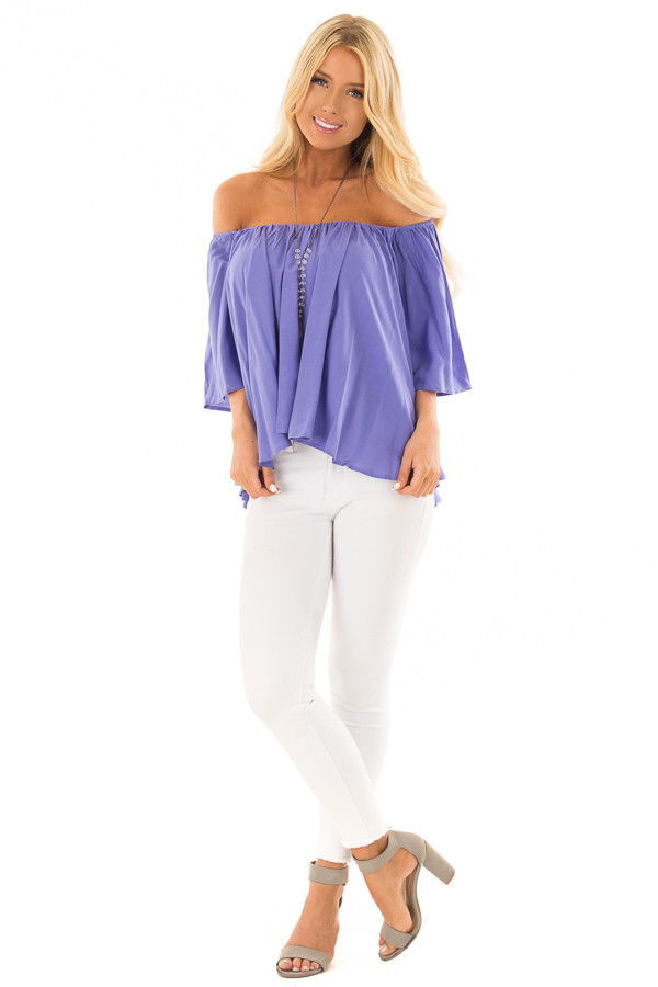 Periwinkle Off the Shoulder Top front full body