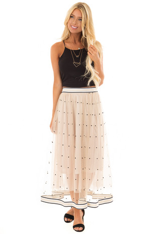 Champagne Polka Dot Tulle Skirt with Striped Trim front full body