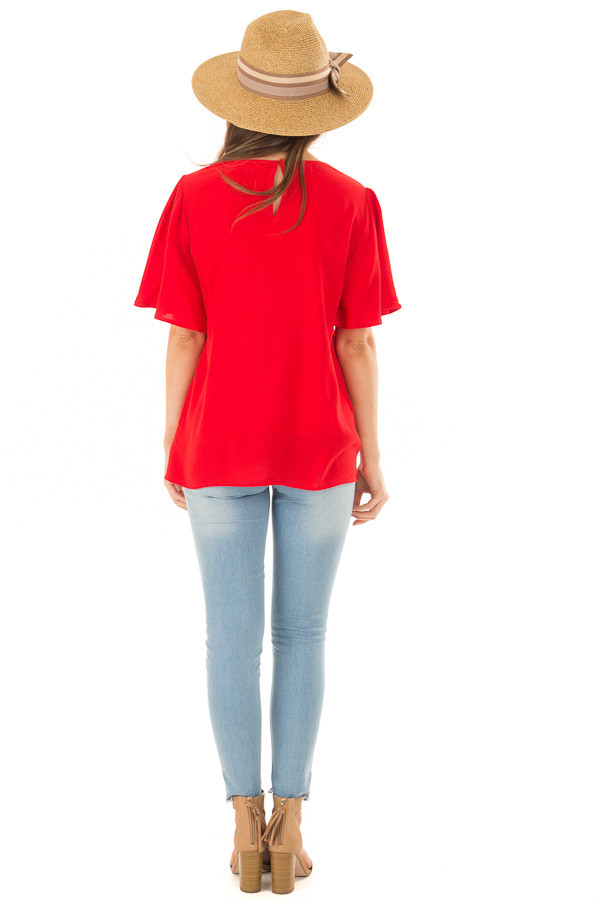 Cherry Red Colorful Embroidered Top with Flowy Sleeves back full body