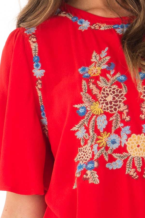 Cherry Red Colorful Embroidered Top with Flowy Sleeves detail