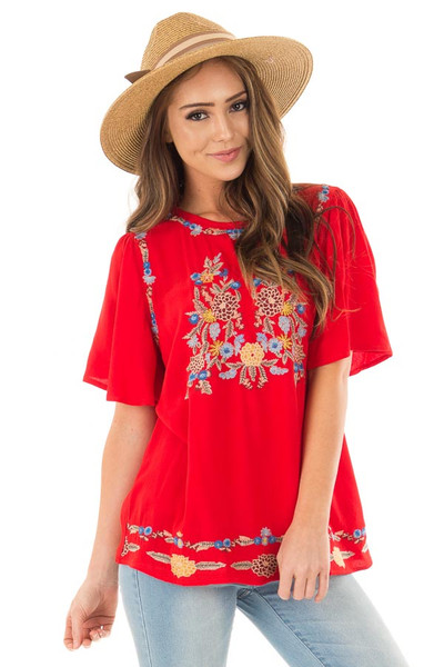 Cherry Red Colorful Embroidered Top with Flowy Sleeves front close up