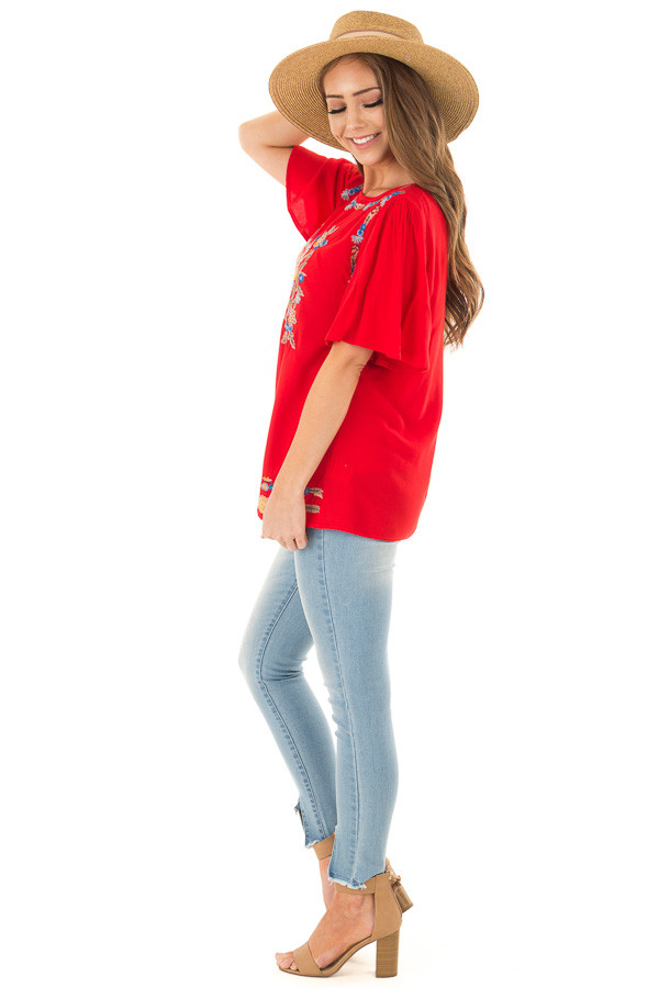 Cherry Red Colorful Embroidered Top with Flowy Sleeves side full body