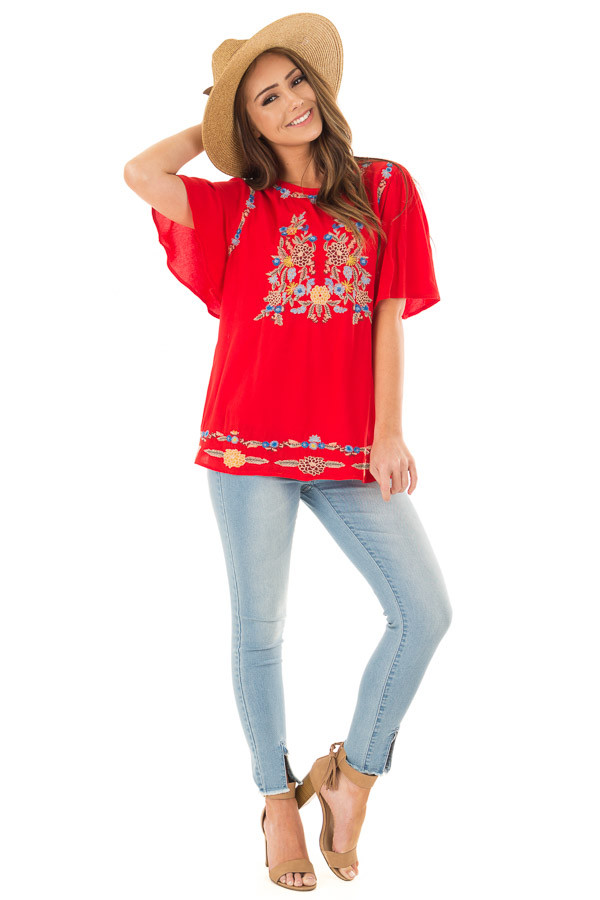 Cherry Red Colorful Embroidered Top with Flowy Sleeves front full body