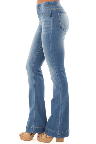 Light Wash Denim Flare Jeggings back view