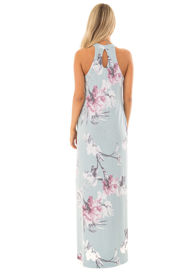 Dusty Blue Floral Print High Neck Maxi Dress with Pockets back full body