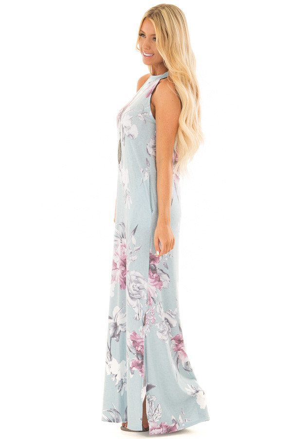 Dusty Blue Floral Print High Neck Maxi Dress with Pockets side full body