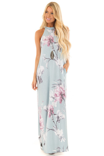 Dusty Blue Floral Print High Neck Maxi Dress with Pockets front full body