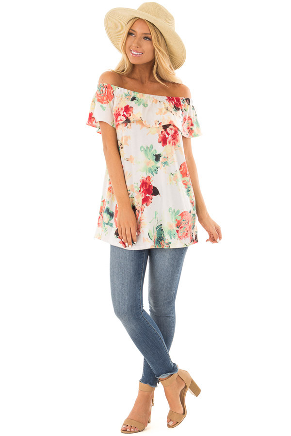Ivory Off the Shoulder Tunic with Bright Floral Print front full body
