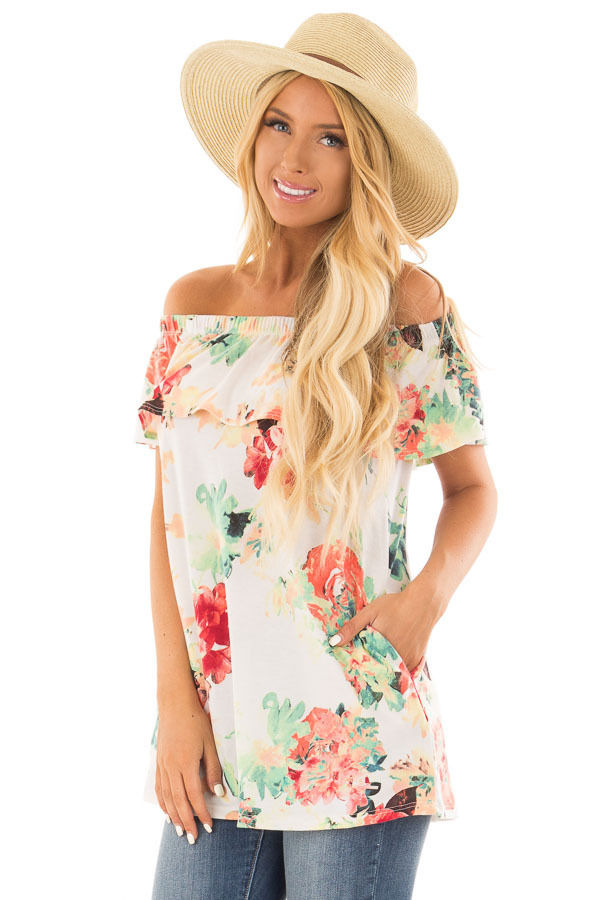 Ivory Off the Shoulder Tunic with Bright Floral Print front close up