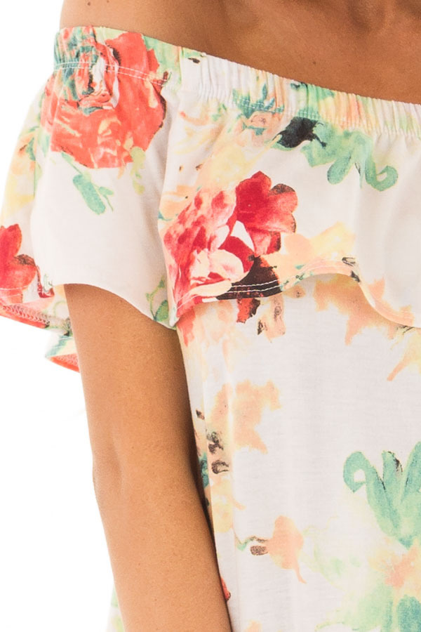 Ivory Off the Shoulder Tunic with Bright Floral Print detail