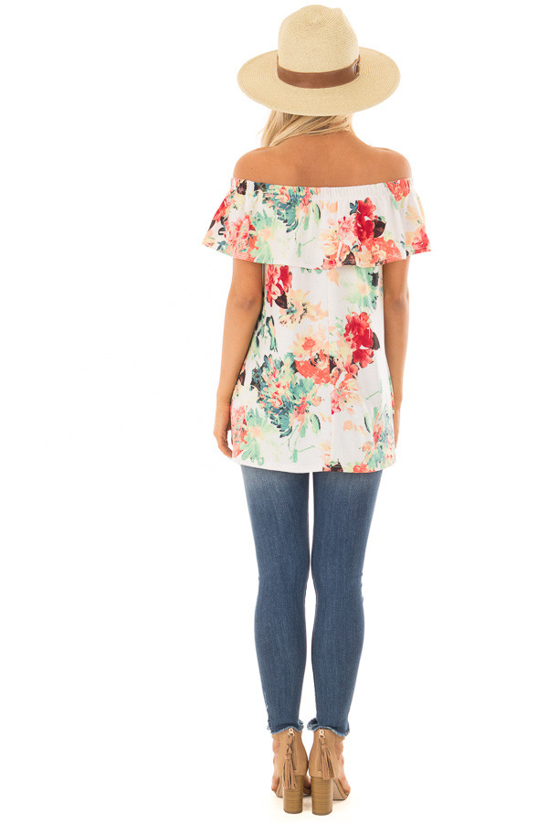 Ivory Off the Shoulder Tunic with Bright Floral Print back full body