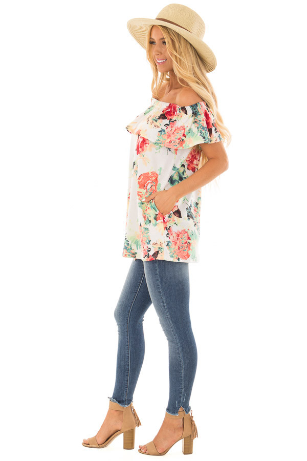 Ivory Off the Shoulder Tunic with Bright Floral Print side full body
