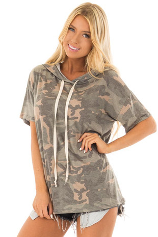 Olive Camo Print Short Sleeve Tee Shirt Hoodie front close up