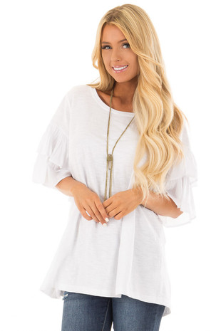White Oversized Comfy Top with Layered Ruffle Sleeves front close up