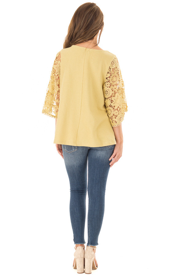 Mustard Textured Knit Top with Sheer Lace Sleeves back full body