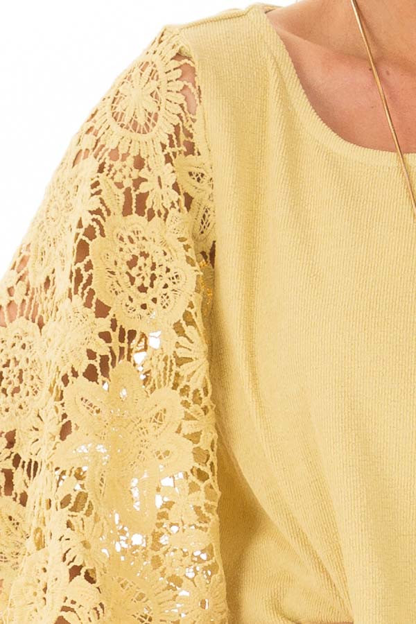 Mustard Textured Knit Top with Sheer Lace Sleeves detail