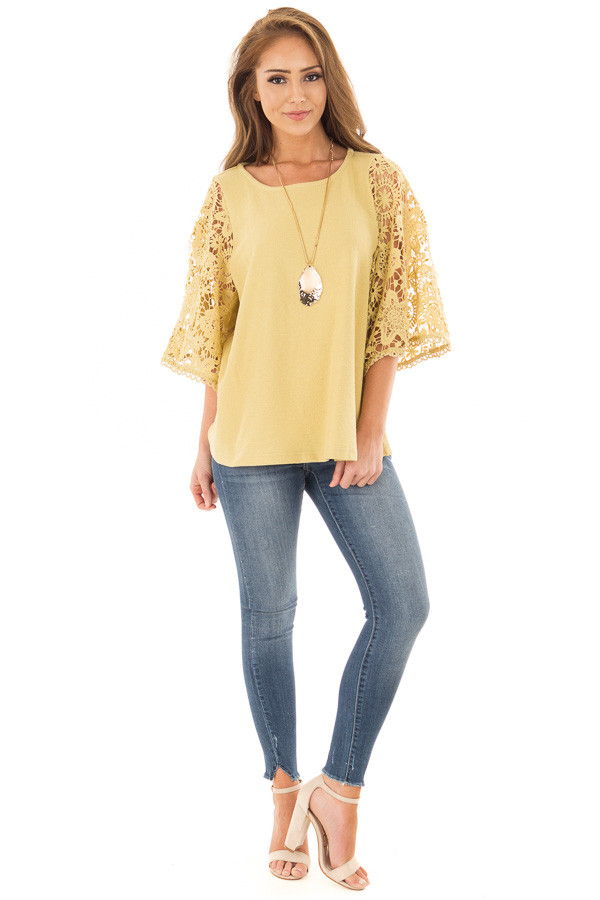 Mustard Textured Knit Top with Sheer Lace Sleeves front full body