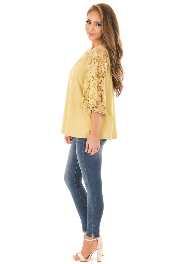 Mustard Textured Knit Top with Sheer Lace Sleeves side full body