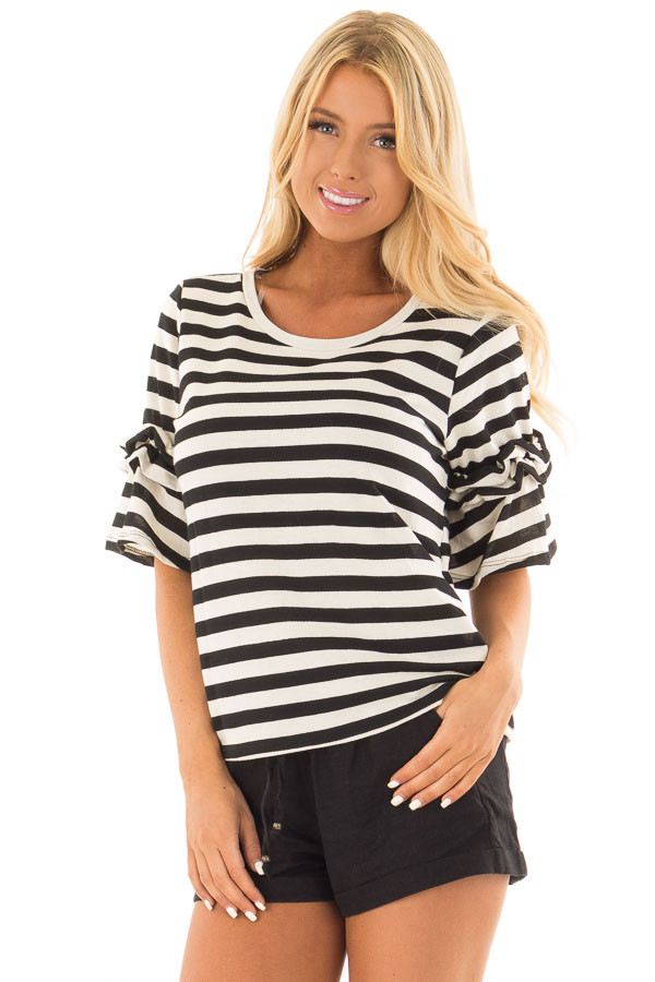 Black and Cream Striped Top with Ruffle Sleeve Detail front close up