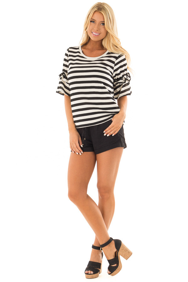 Black and Cream Striped Top with Ruffle Sleeve Detail front full body