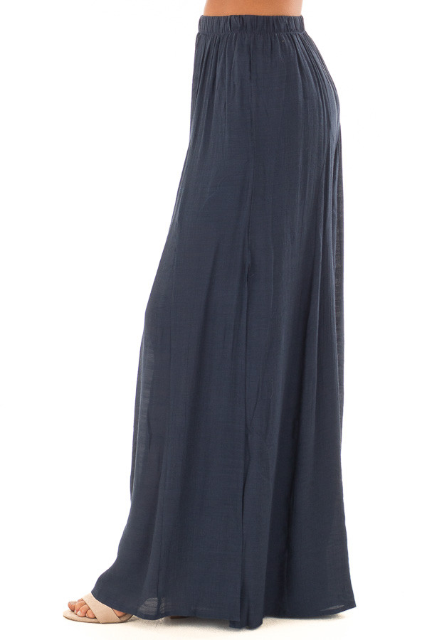 Navy Wide Leg Comfy Pants with High Side Splits side view