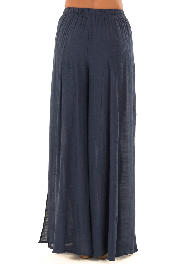 Navy Wide Leg Comfy Pants with High Side Splits back view