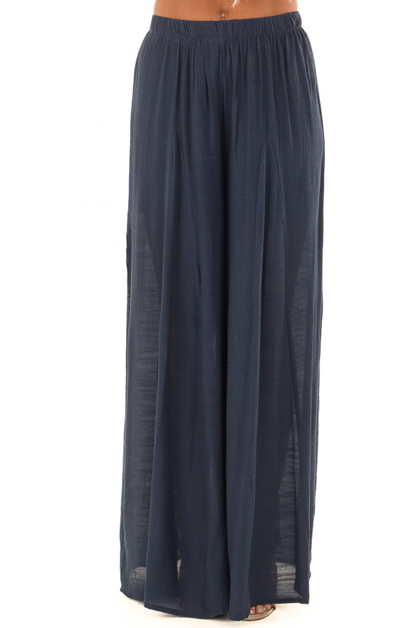 Navy Wide Leg Comfy Pants with High Side Splits front view