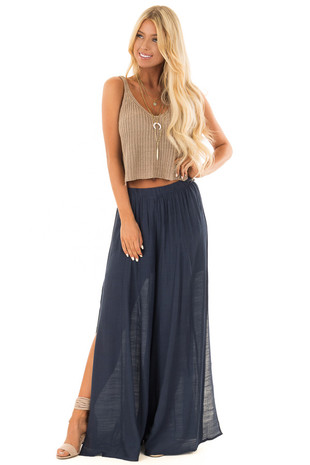 Navy Wide Leg Comfy Pants with High Side Splits