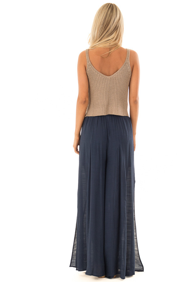 Navy Wide Leg Comfy Pants with High Side Splits back full body