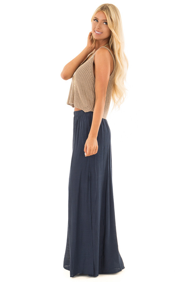 Navy Wide Leg Comfy Pants with High Side Splits side full body