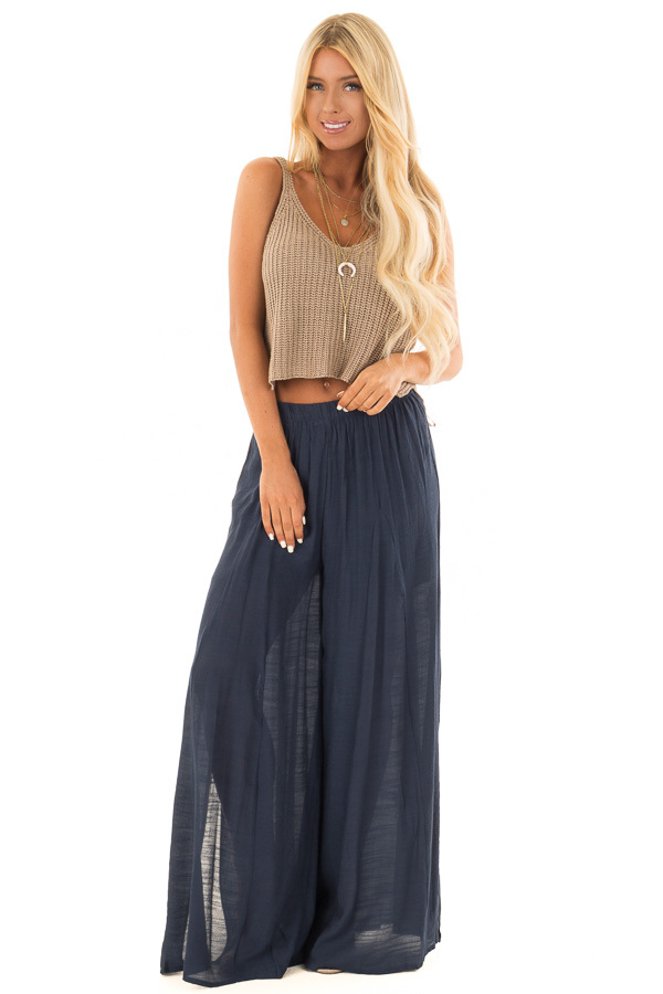 Navy Wide Leg Comfy Pants with High Side Splits front full body