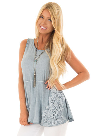 Denim Blue Mineral Wash Tank Top with Lace Details front close up