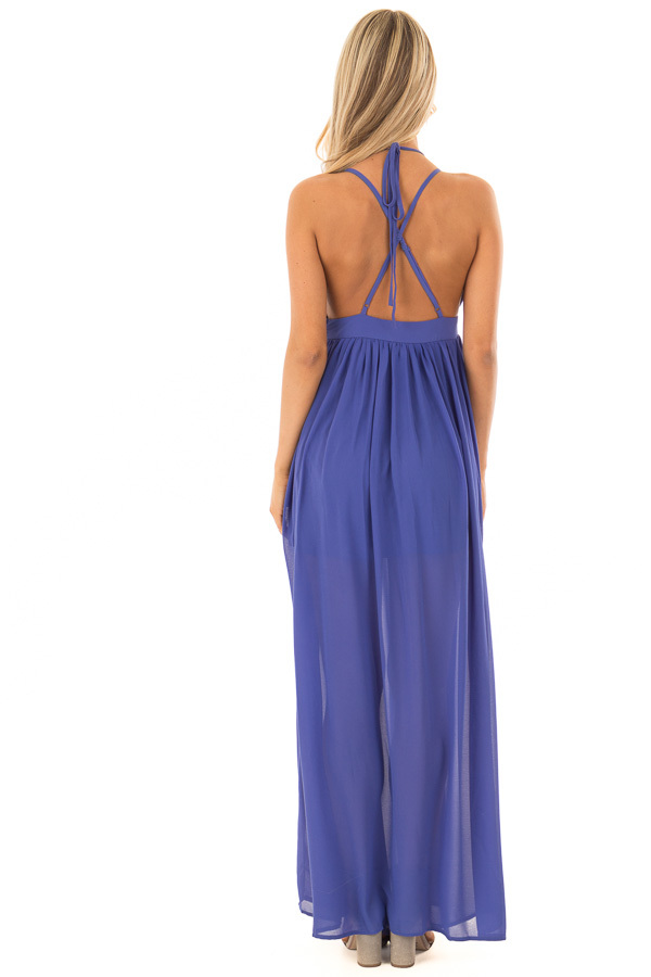 Royal Blue Open Back Maxi Dress with Strappy Neckline back full body