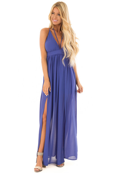 Royal Blue Open Back Maxi Dress with Strappy Neckline front full body