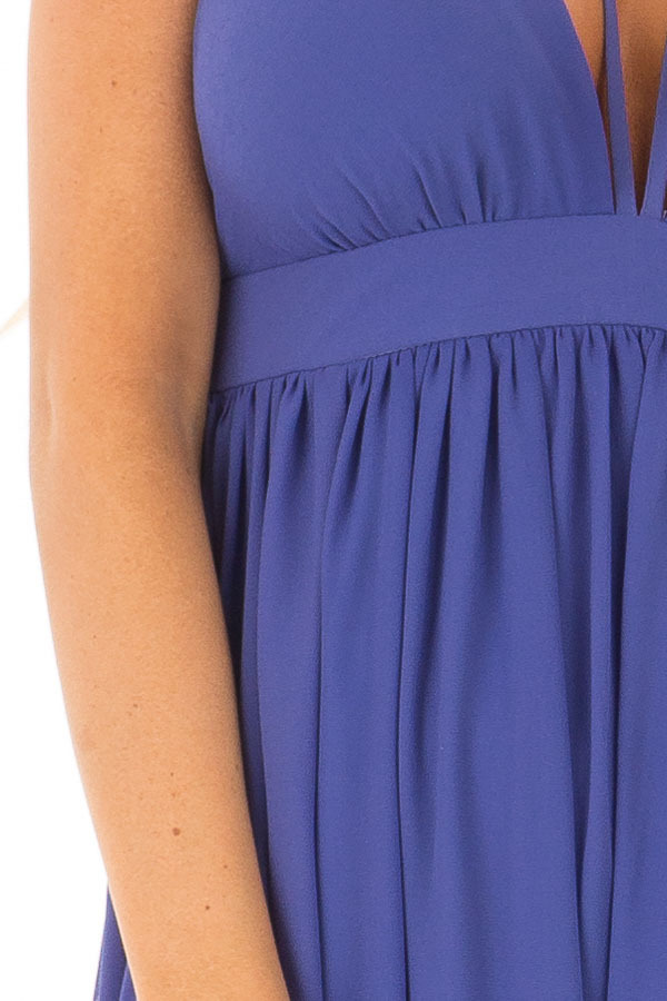 Royal Blue Open Back Maxi Dress with Strappy Neckline detail