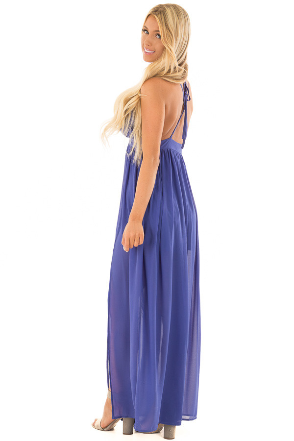 Royal Blue Open Back Maxi Dress with Strappy Neckline side full body
