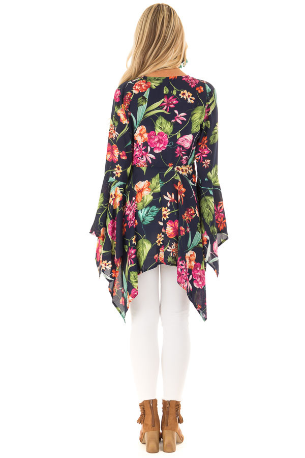 Navy Floral Print Top with Flowy Bell Sleeves back full body