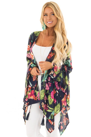 Navy Floral Print Top with Flowy Bell Sleeves front close up