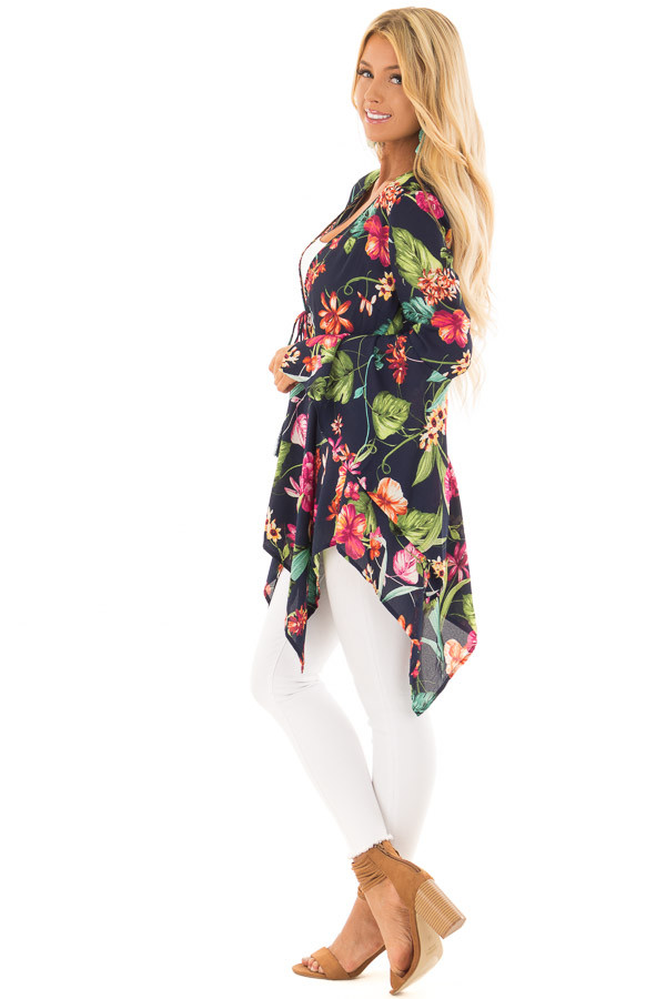 Navy Floral Print Top with Flowy Bell Sleeves side full body