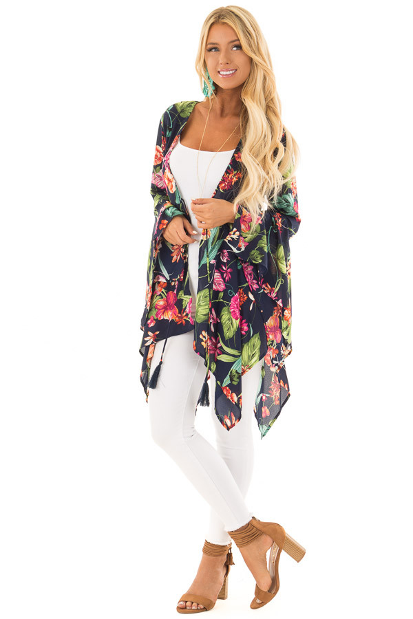 Navy Floral Print Top with Flowy Bell Sleeves front full body