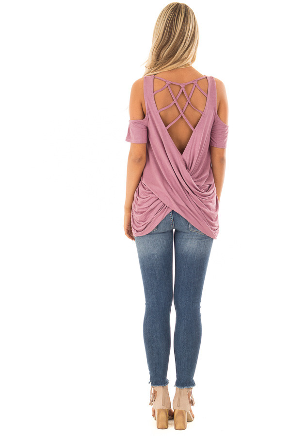 Mauve Cold Shoulder Top with Back Detail back full body